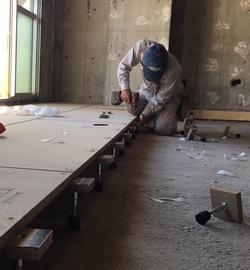 埼玉住建 マンションリノベーション 所沢 リフォーム スケルトン状態から 床 置床 防音 安心マンション床 フローリング