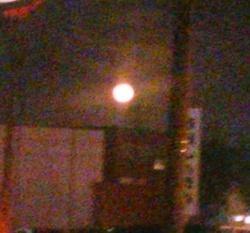 ぼんやり写った地平線の月